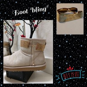 Accessories - Brown suade boot bling cuff